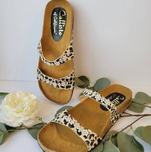 Callisto  Chettah  double stap bling slides sandal